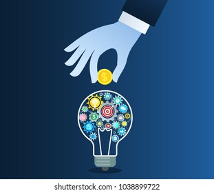 Flat design colorful vector illustration concept for crowdfunding, investing into ideas. Blue hand puts a coin in a light bulb.