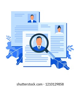 Flat design colorful vector illustration concept for human resource management, recruitment, headhunting, searching employees, selecting professional staff isolated on white