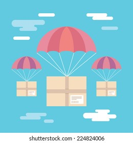 Flat design colorful vector illustration of parcels flying down from sky with parachutes, concept for delivery service isolated on bright background