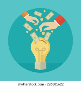 Flat design colorful vector illustration concept for crowdfunding, investing into ideas isolated on bright background