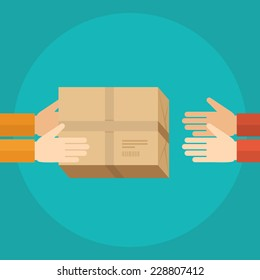 Flat design colorful vector illustration concept for delivery service, receiving package from courier to customer isolated on bright background
