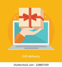 Flat design colorful vector illustration concept for online gifts ordering and delivery service isolated on bright background