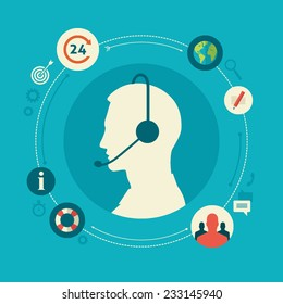 Flat design colorful vector illustration concept for call center, client support service isolated on bright background