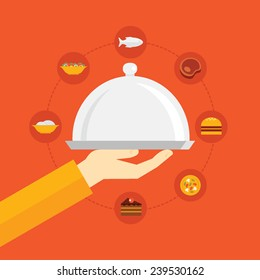 Flat design colorful vector illustration concept for restaurant menu, cooking, food delivery service isolated on bright background,