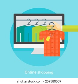 Flat design colorful vector illustration concept for online shopping, buying clothes in an internet store, e-commerce. Isolated on bright background
