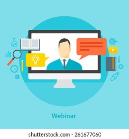 Flat design colorful vector illustration concept for webinar, online learning, professional lectures in internet. Isolated on bright background