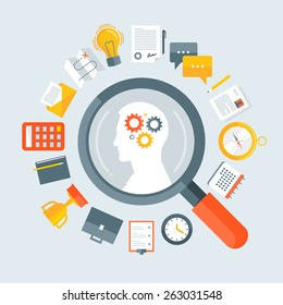 Flat design colorful vector illustration concept for human resource management, recruitment, headhunting, searching employees, selecting professional staff isolated on light background