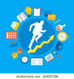 Flat design colorful vector illustration concept for personal development, professional growth, working process, successful career, reaching goals isolated on bright background