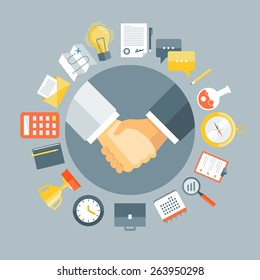 Flat design colorful vector illustration concept for agreement, successful business deal, cooperation, collaboration, partnership isolated on stylish background