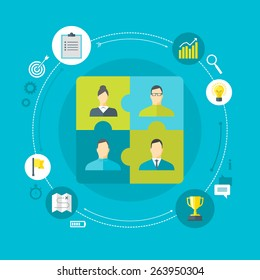 Flat design colorful vector illustration concept for human resource management, team work, organizing working process in a company isolated on bright background