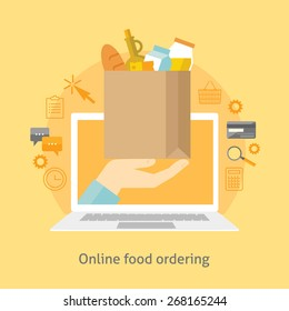 Flat design colorful vector illustration concept for online ordering of food, grocery delivery, e-commerce isolated on bright background
