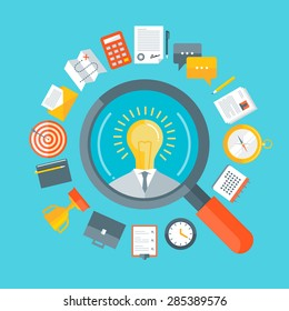 Flat design colorful vector illustration concept for human resource management, headhunting, searching talented creative employees, selecting professional staff isolated on bright  background