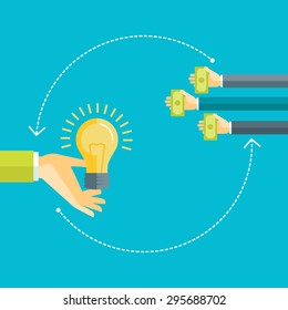 Flat design colorful vector illustration concept for investing into ideas, funding project by raising monetary contributions, venture capital isolated on bright background