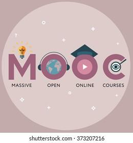 Flat design colorful vector illustration concept for MOOC, Massive Open Online Courses