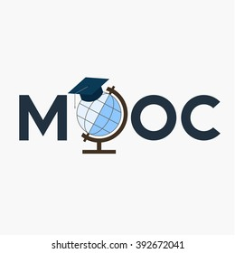 Flat design colorful vector illustration concept for MOOC, Massive Open Online Courses, globe with square academic cap, isolated on grey background