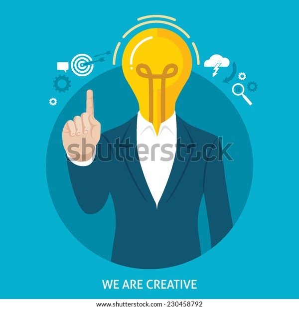 Flat design colorful vector illustration of man in suit with light bulb instead of head, concept for creative people, efficient employees isolated on bright background