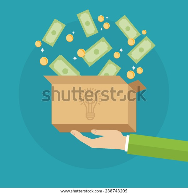 Flat design colorful vector illustration concept for crowdfunding, funding project by raising monetary contributions from crowd of people, investing into ideas isolated on bright background