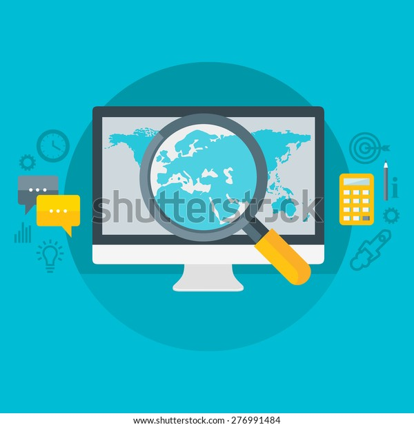 Flat design colorful vector illustration concept for geographic market segmentation, marketing research, analytics, strategy  isolated on bright background