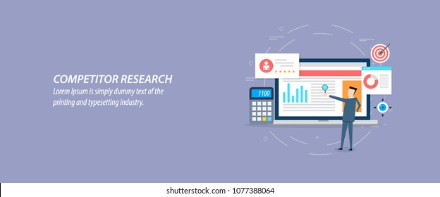Flat design for Competitor research, analysis, strategy development vector illustration