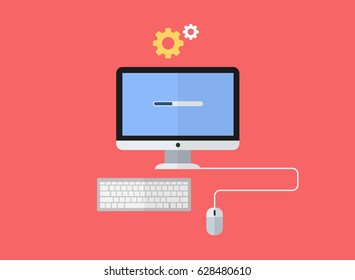Flat design computer with keyboard and mouse and setting icon above - concept of installation, service, software update