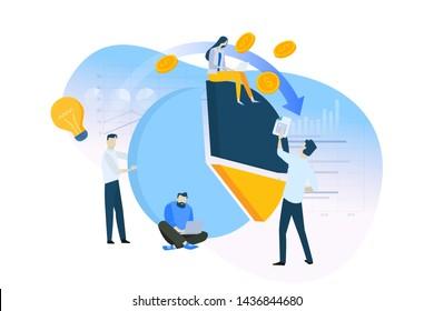 Flat design concept of analysis, planning, market research, finance, investment. Vector illustration for website banner, marketing material, business presentation, online advertising.