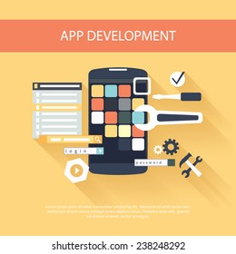 Flat design concept for app development with smartphone, tools, programing code on yellow background