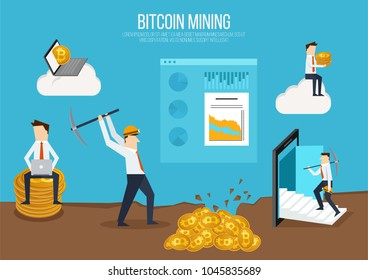 Flat design concept for bitcoin market. Web banner illustration of blockchain technology, bitcoin, cryptocurrency mining, finance, digital money market, cryptocoin wallet, stock exchange.