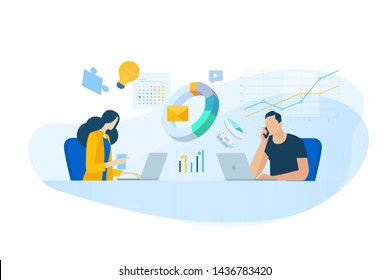 Flat design concept of business analysis, project management, market research. Vector illustration for website banner, marketing material, business presentation, online advertising.