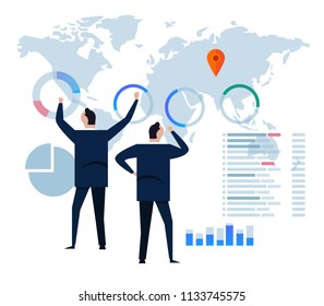 Flat design concept business strategy. Analysis data and Investment. Business Financial review infographic elements. Vector illustration.In front of the big screen