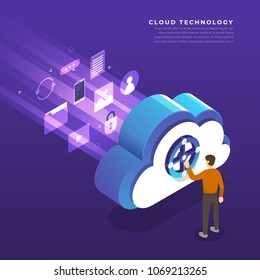 Flat design concept cloud computing technology users network configuration isometric. Vector illustration.
