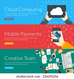 Flat design concept for cloud computing, mobile payments and creative team. Vector illustration for web banners and promotional materials