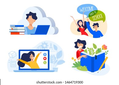 Flat design concept of cloud education and apps, books, back to school. Vector illustration for website banner, marketing material, presentation template, online advertising.