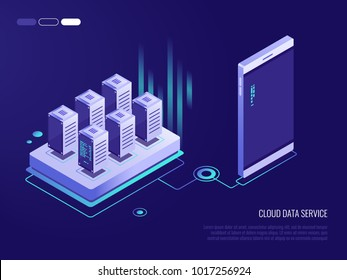 Flat design concept of cloud service and mobile devices with long shadows. Process of upload and download. 3d isometric vector illustration on dark blue background