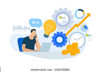 Flat design concept of consulting, key account manager, business plan. Vector illustration for website banner, marketing material, business presentation, online advertising.