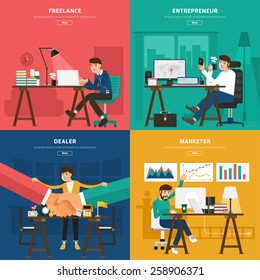 Flat design concept coworking center for worker freelance, entrepreneur, dealer, and marketer. Vector Illustrate for banner and article design