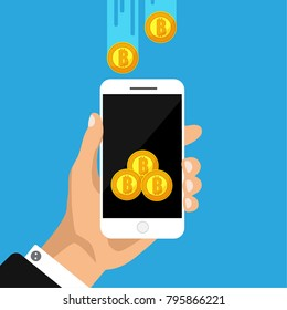Flat design concept of cryptocurrency technology, bitcoin exchange, mobile banking. Hand holding smartphone with bitcoi coming. Vector illustration. Isolated.
