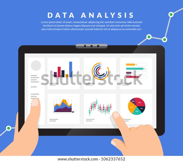 Flat design concept data analysis. Visualize with graph and chart marketing growth. Vector illustration.