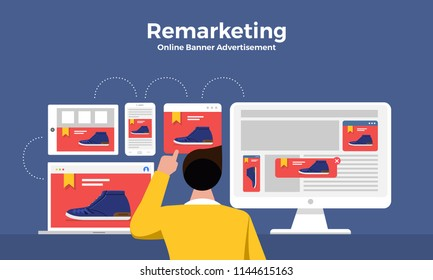 Flat design concept digital marketing retargeting or remarketing. online banner ad network. Vector illustrations.