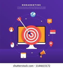 Flat design concept digital marketing retargeting or remarketing. online banner ad network. Vector illustrations.