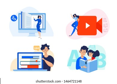 Flat design concept of distance education, video tutorials, e-learning and online class. Vector illustration for website banner, marketing material, presentation template, online advertising.