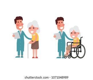 Flat design concept of doctors talking with senior woman