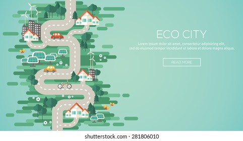 Flat Design Concept of Ecology. Landscape with Buildings, Electric Cars and Nature Elements, Solar Panels, Wind Turbines. Eco City Map for Earth Day. Vector Illustration