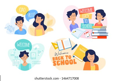 Flat design concept of education, back to school, language courses. Vector illustration for website banner, marketing material, presentation template, online advertising.