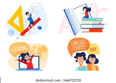 Flat design concept of education, e-learning, language school. Vector illustration for website banner, marketing material, presentation template, online advertising.