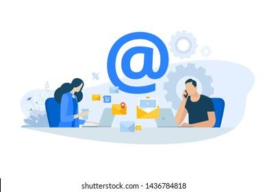 Flat design concept of email marketing, newsletter, digital advertising. Vector illustration for website banner, marketing material, business presentation, online advertising.