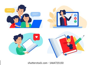 Flat design concept of family education, online teaching, learning. Vector illustration for website banner, marketing material, presentation template, online advertising.