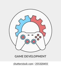 Flat design concept for Game Development. Vector illustration for web banners and promotional materials