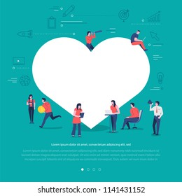 Flat design concept group of peoples work together building social network symbol love buton. Vector illustrations.