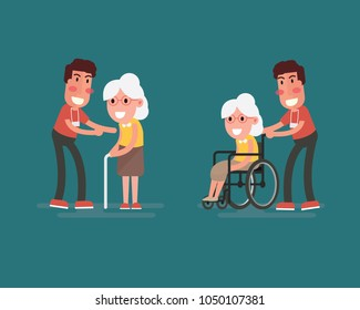 Flat design concept of health care and medical for older people