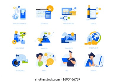 Flat design concept icons collection. Vector illustrations for app development, business solutions, analytics and investment, online store, testimonial, events. Icons for graphic and web designs,